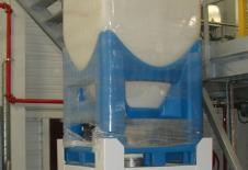 Stand de vidange de flobin avec reprise par transport pneumatique